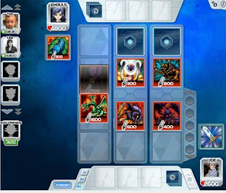 This is the Yu-gi-Oh! BAM card battle screen