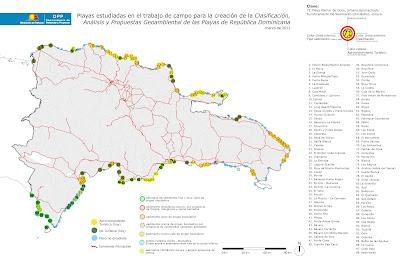 Mapa de Playas Estudiadas y Clasificadas - DPP Mitur/Propio