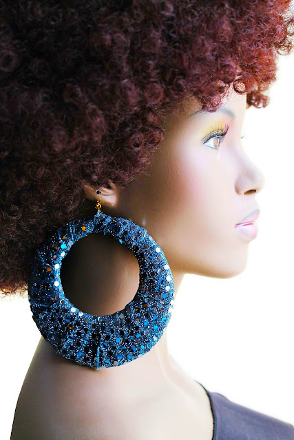 big blue fabric hoop earrings