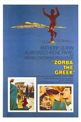 Imagen con el cartel original de la película Zorba el Griego, 1964