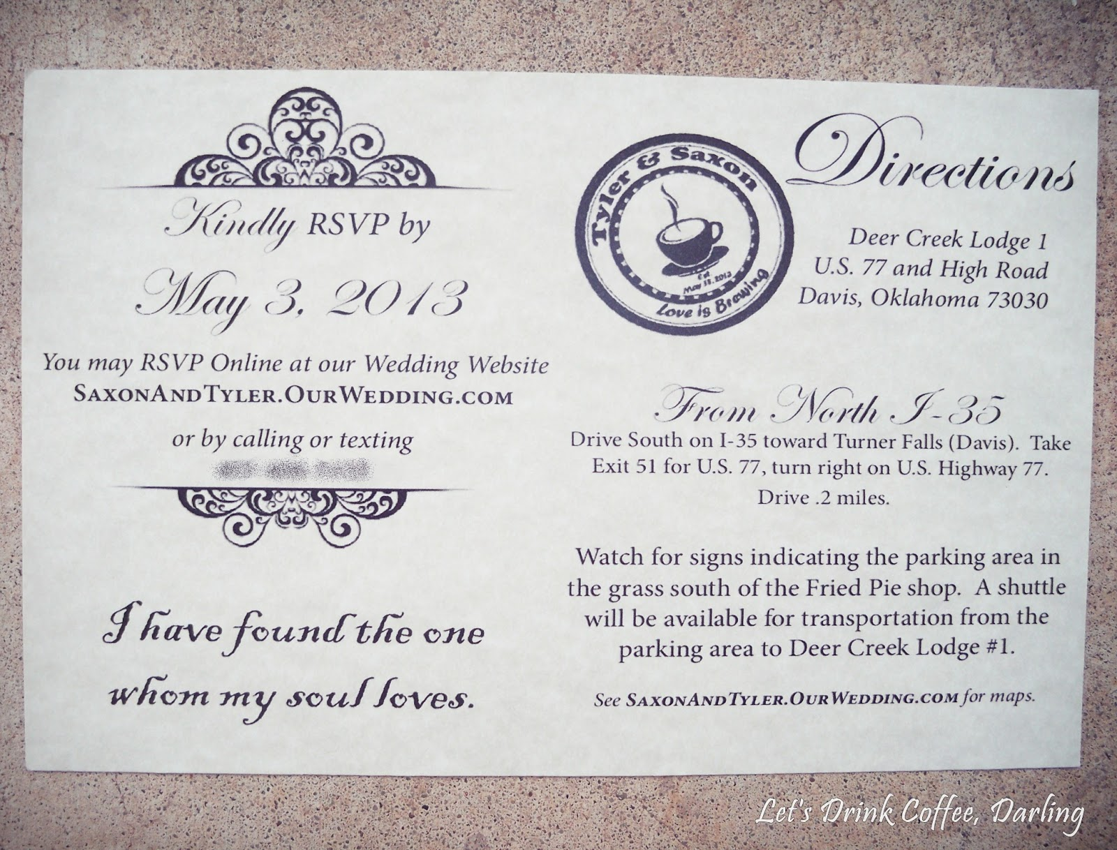 Let39s drink coffee darling our wedding stationery for Wedding invitations with information inserts
