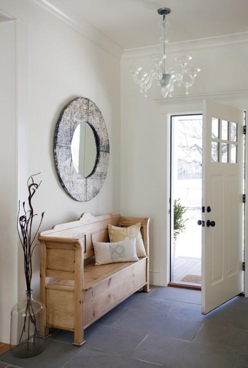 decoração de hall com espelho e banco, hall de entrada , hall de entrada de casas ou apartamentos