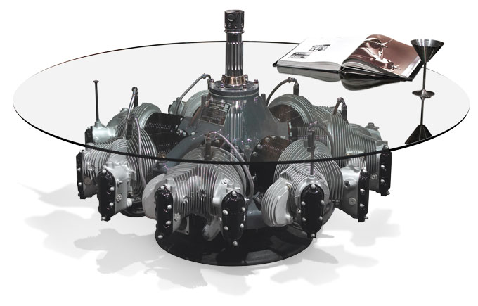 Engine Coffee Table | Continental Radial Engine Coffee Table | Radial Engine | Radial Engine Table by Motoart The Radial Engine Coffee Table