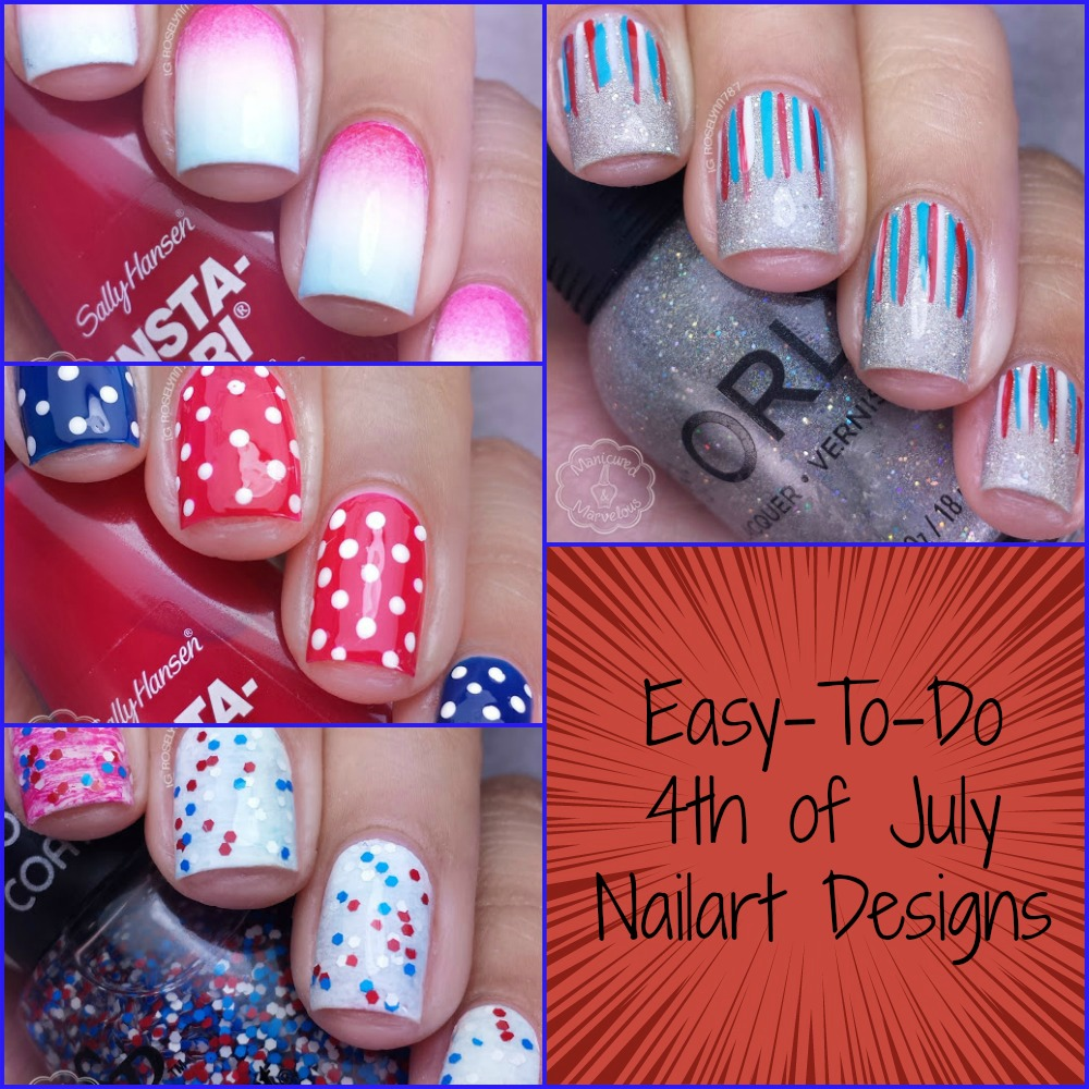 Easy nail art for 4th of july manicured marvelous easy nail art for 4th of july prinsesfo Gallery