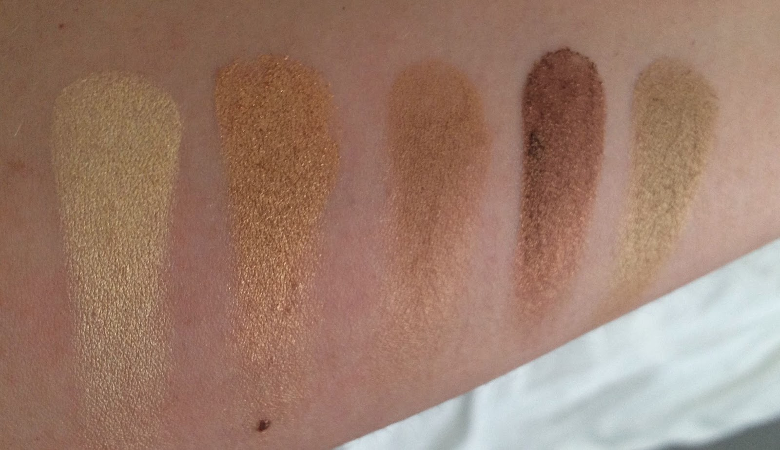 MAC Warm Neutral Palette - bottom row swatches L-R: Lemon Tart, Creative Copper, Butterfudge, Divine Decadence and Unwind