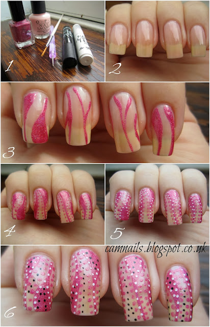 dots-stripes-tutorial-nail-art-manicure-pink-holographic