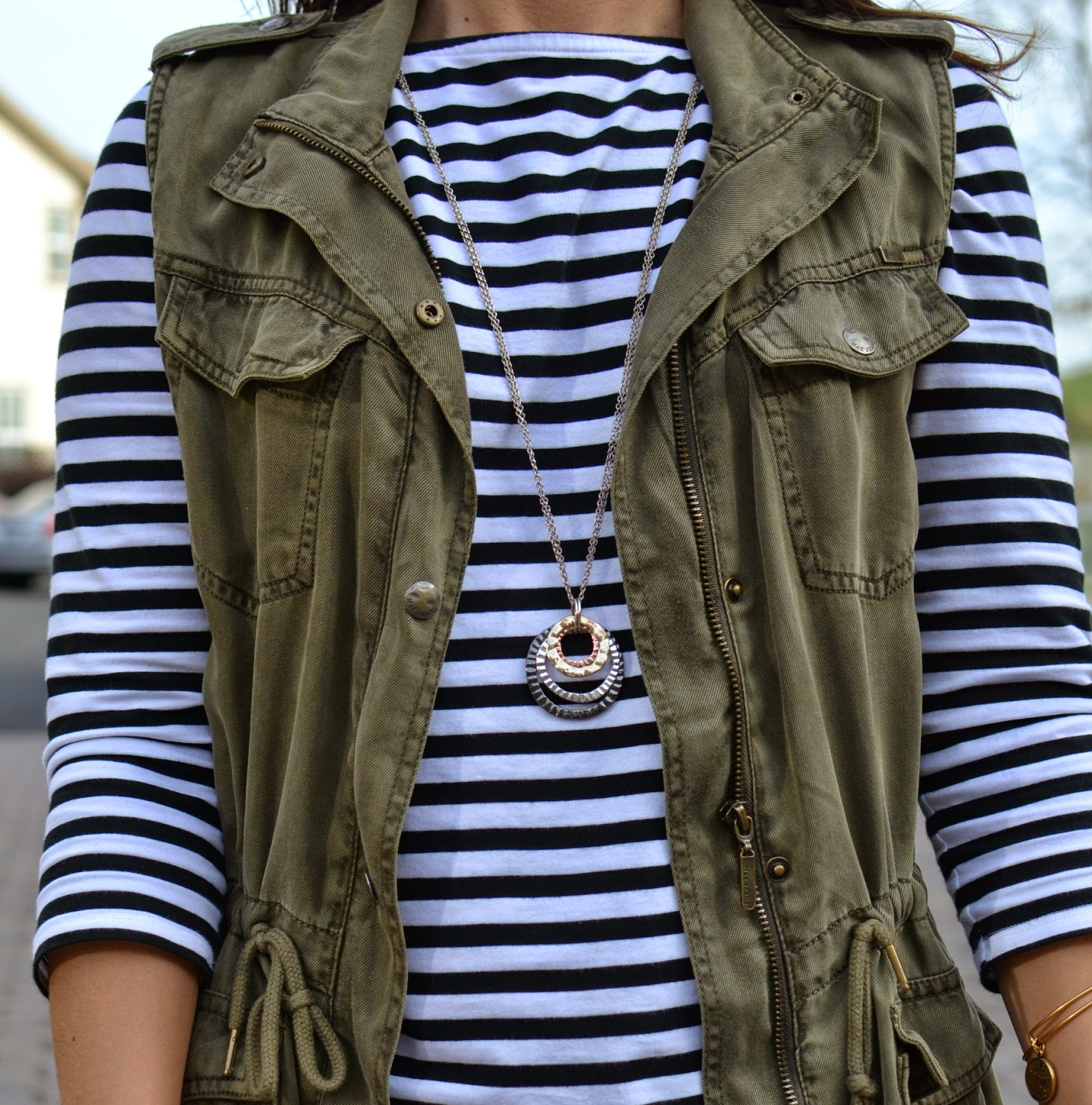 Stripes and Cargo Military Vest OUtfit