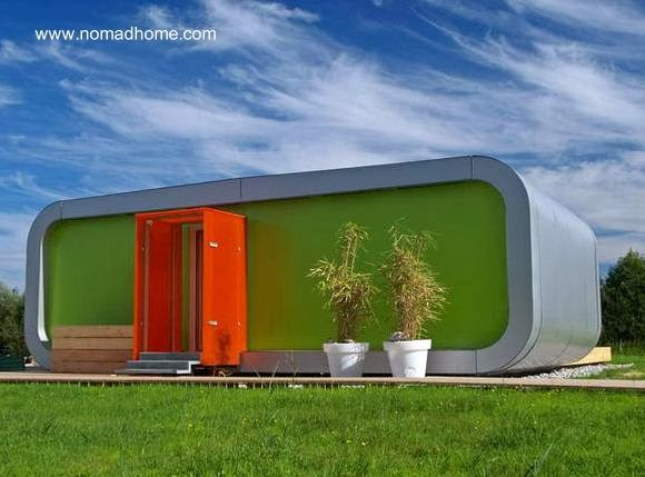 Fachada de una casa prefabricada modular austríaca NOMAD