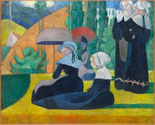 Emile Bernard - Bretonnes aux ombrelles, 1892, Orsay