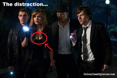 Now You See Me still of The Four Horsemen with Isla Fisher cleavage meme