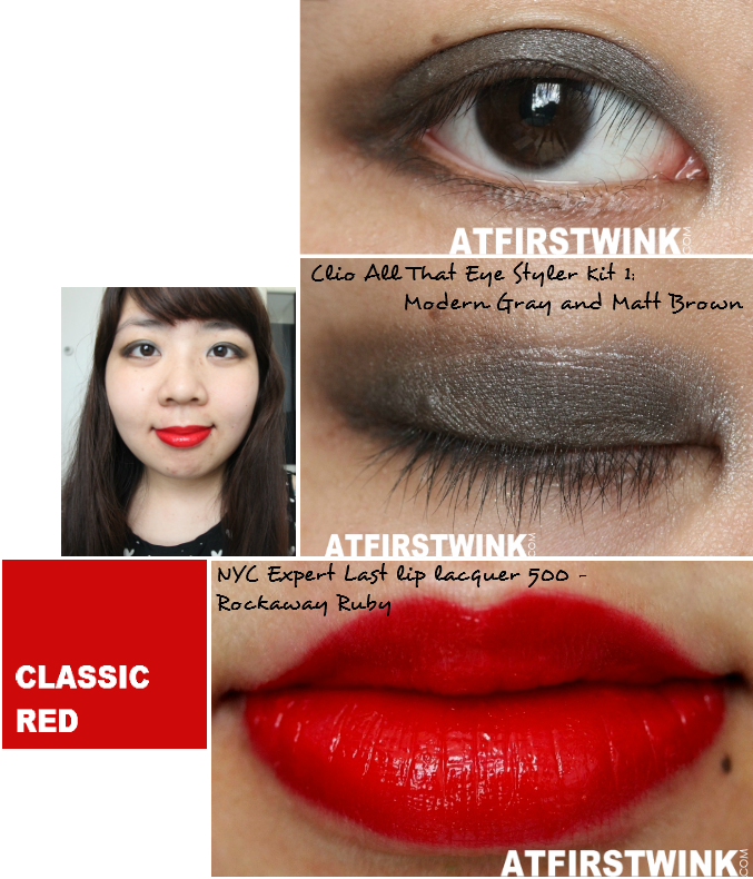 Makeup look 4: Classic Red (used: Clio That Eye Styler Kit 1 (Modern Gray and Matt Brown eyeshadows) and NYC Expert Last lip lacquer 500 - Rockaway Ruby)