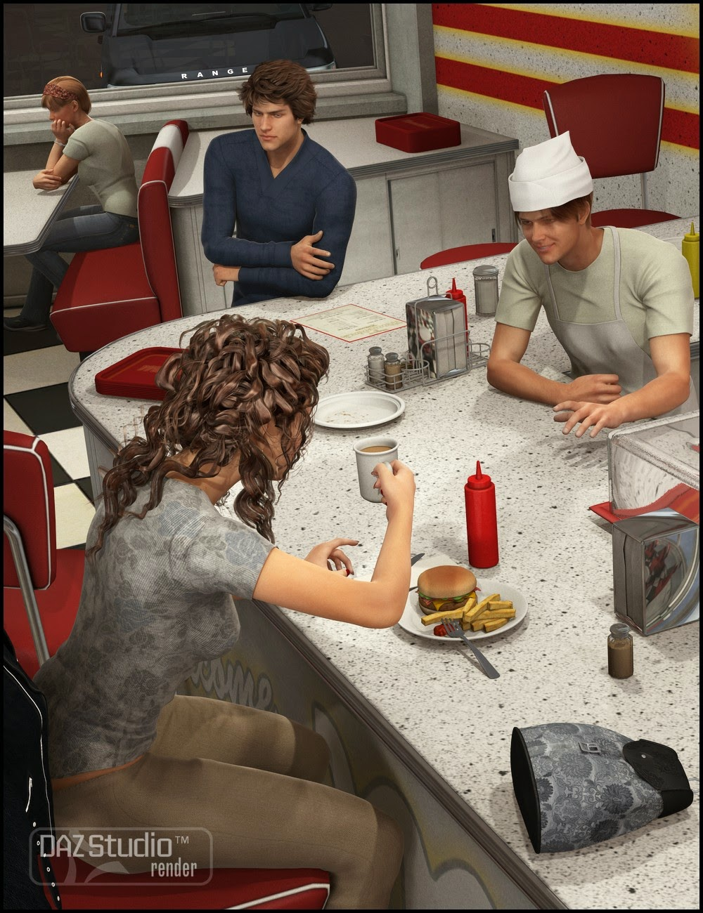 3d Models - Late Night Diner Poses for Genesis 2 Female and Male