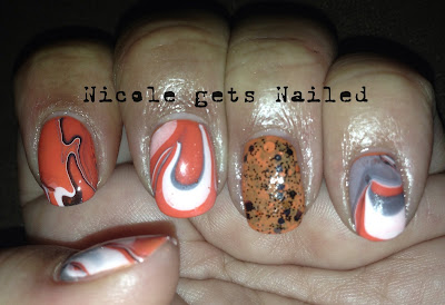 Orange White Black Halloween Water Marble