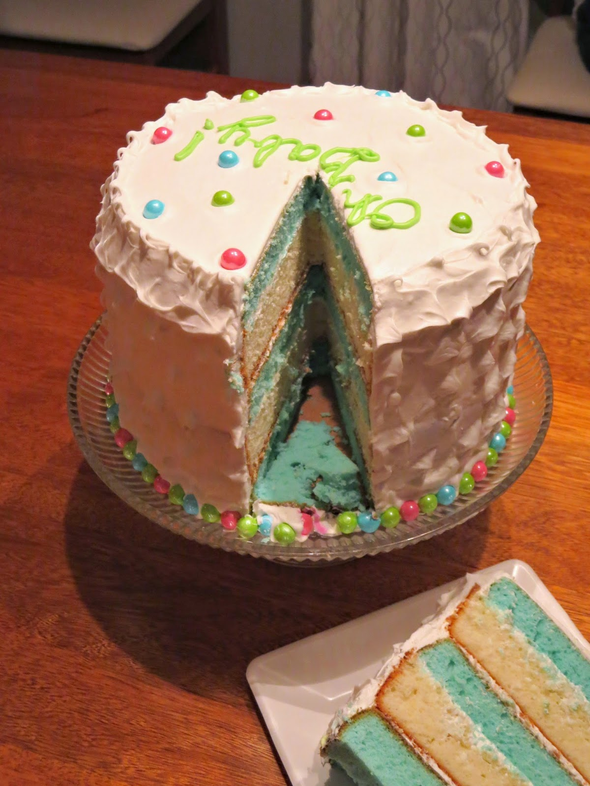 Baby Gender Reveal Cake - Inside of Cake & Cake Slice - It's a BOY
