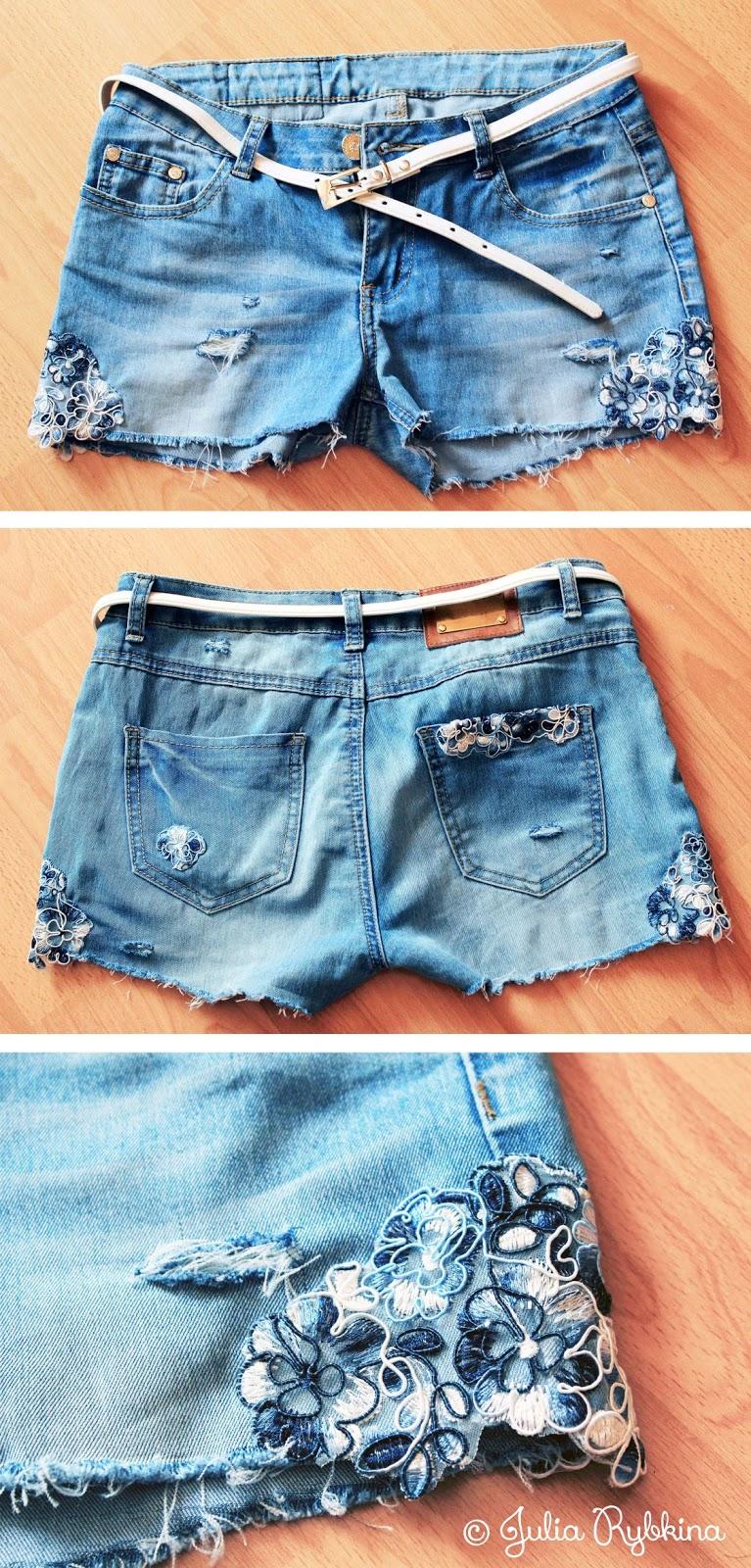 Как сделать шорты из джинсов своими руками фото пошагово