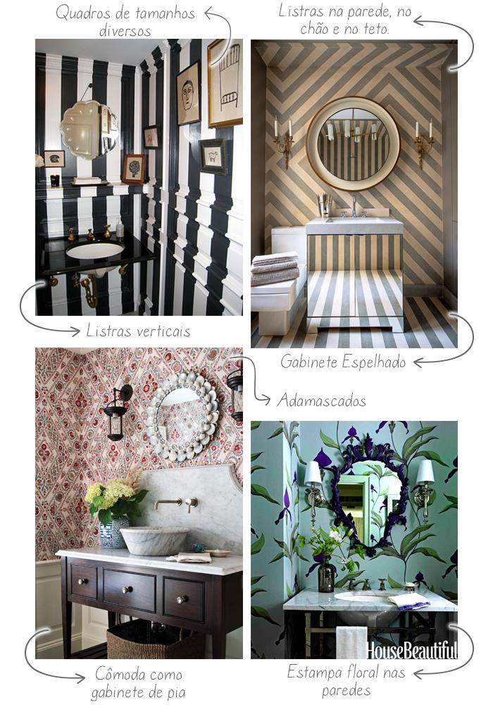 decoracao de lavabo e banheiros:lavabos use e abuse dos papéis de parede e detalhes de decoração
