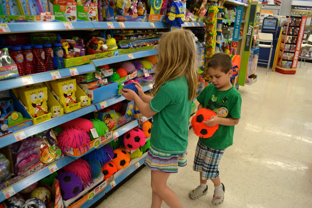 Kids in the toy aisle