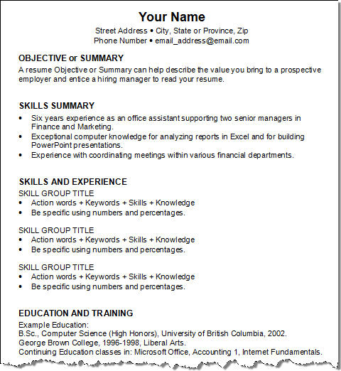 Example job resume