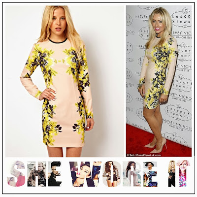 Hollyoaks, Gemma Merna, ASOS, Pale Nude, BodyCon, Mini Dress,  Purple, Yellow, Blue, Mirror Floral Print