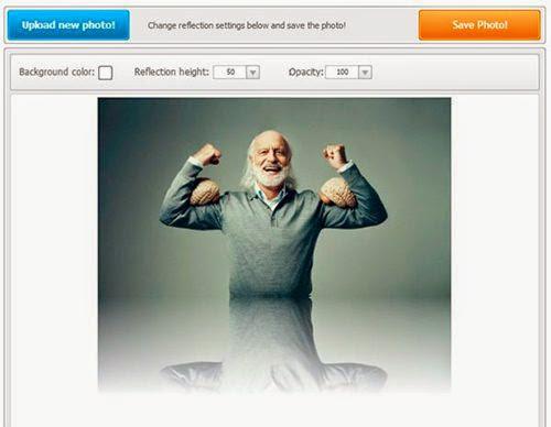 Aplique um efeito Reflexo em sua fotos online Grátis