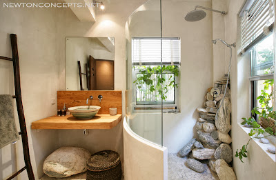 back to nature bathroom design with stones carefully and uniquely stacked to make an inspiring bathroom look
