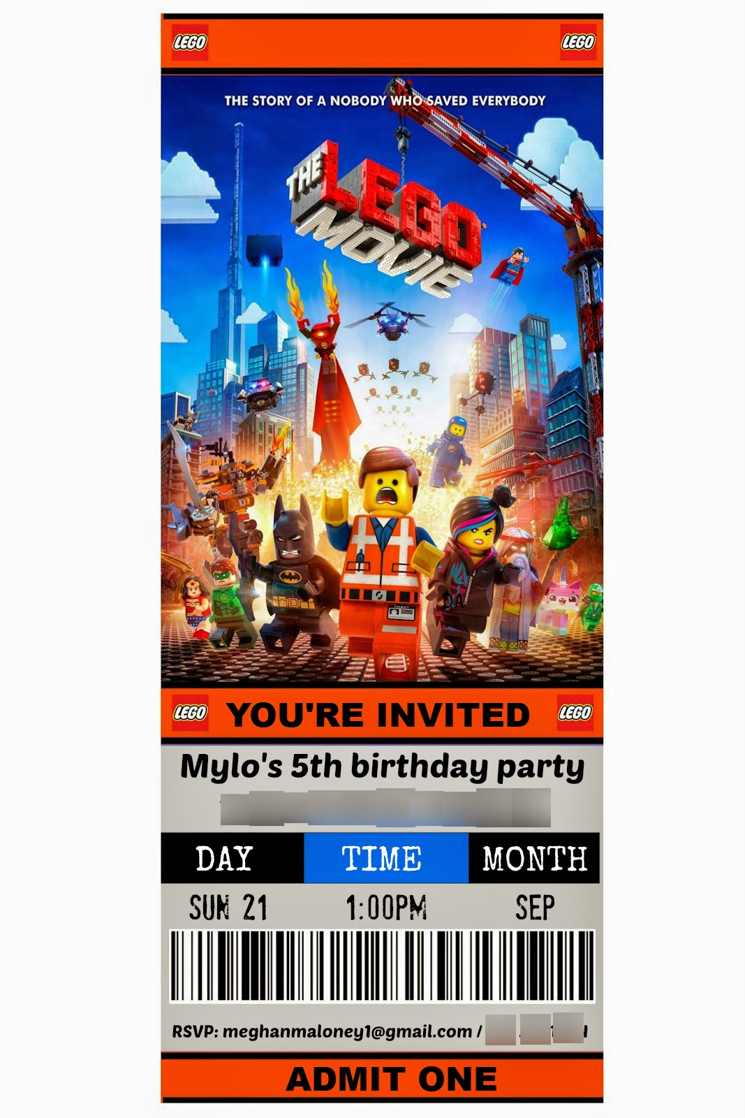 lego movie party invitation template