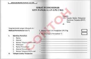 surat izin agen elpiji LPG 3 Kg