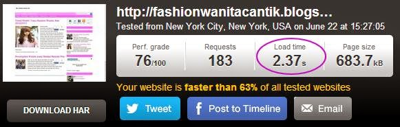 Kecepatan loading blog