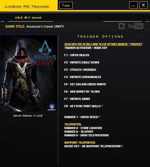 Assassins Creed UNITY V1.4.0 Plus 12 Trainer-LinGon