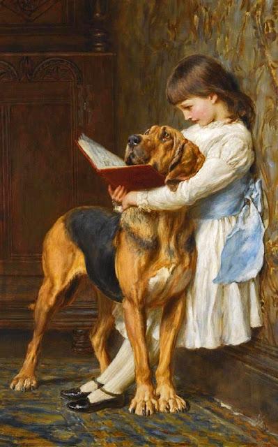 Briton Rivière,cute girl,pet dog
