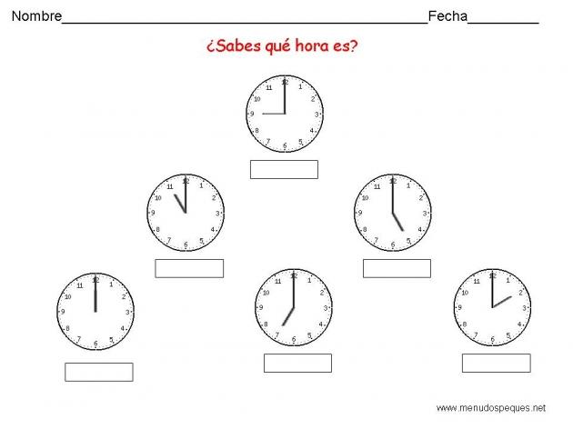 Por Una Escuela Divertida: Fichas del Reloj
