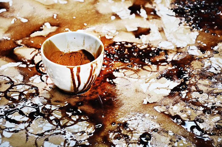 Massive art with coffee cups for Painting with coffee