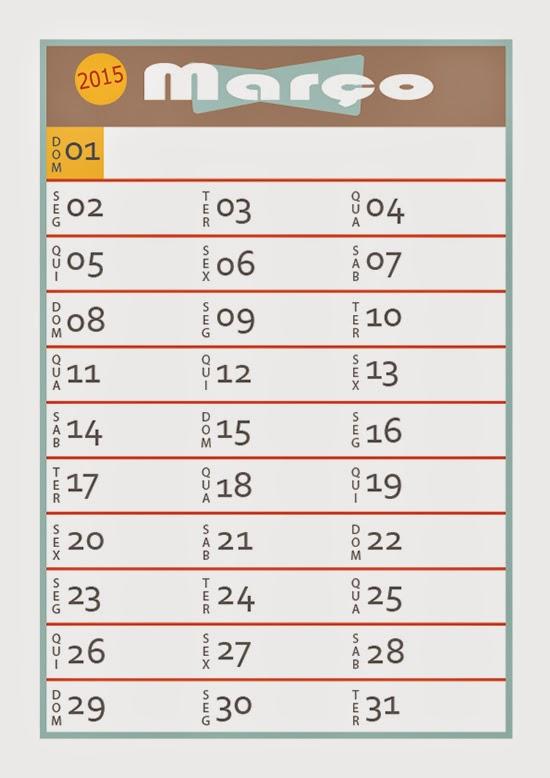 calendário marco de 2015