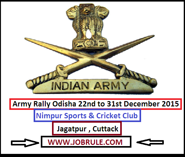 Upcoming Cuttack Jagatpur Army Soldier Recruitment Rally at Nimpur Sports & Cricket Club From 22nd to 31st December 2015