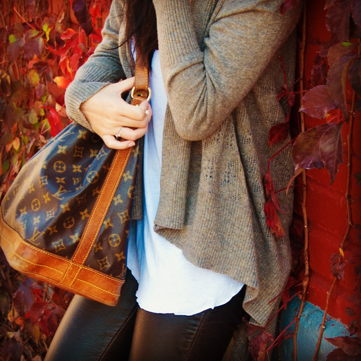 autumn fall leaves vines grey cardigan white tank bricks louis vuitton noe black leather pants bricks