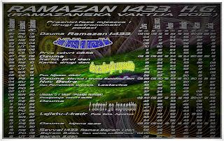 vaktija za ramazan 2012 godine,ramazanska čestitka