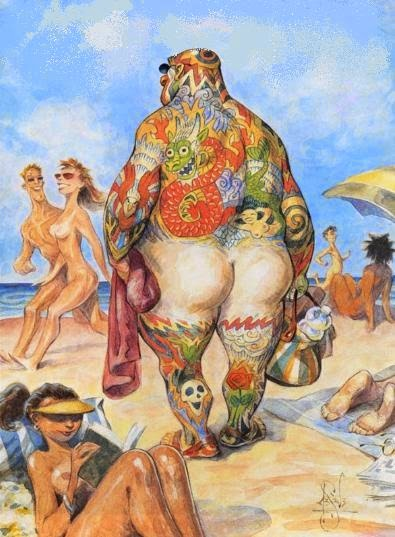 tattooed man at nudist beach vacation illustration by Peter de Sève