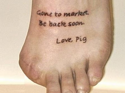 Word Lettering Name Tattoos Design on Foot