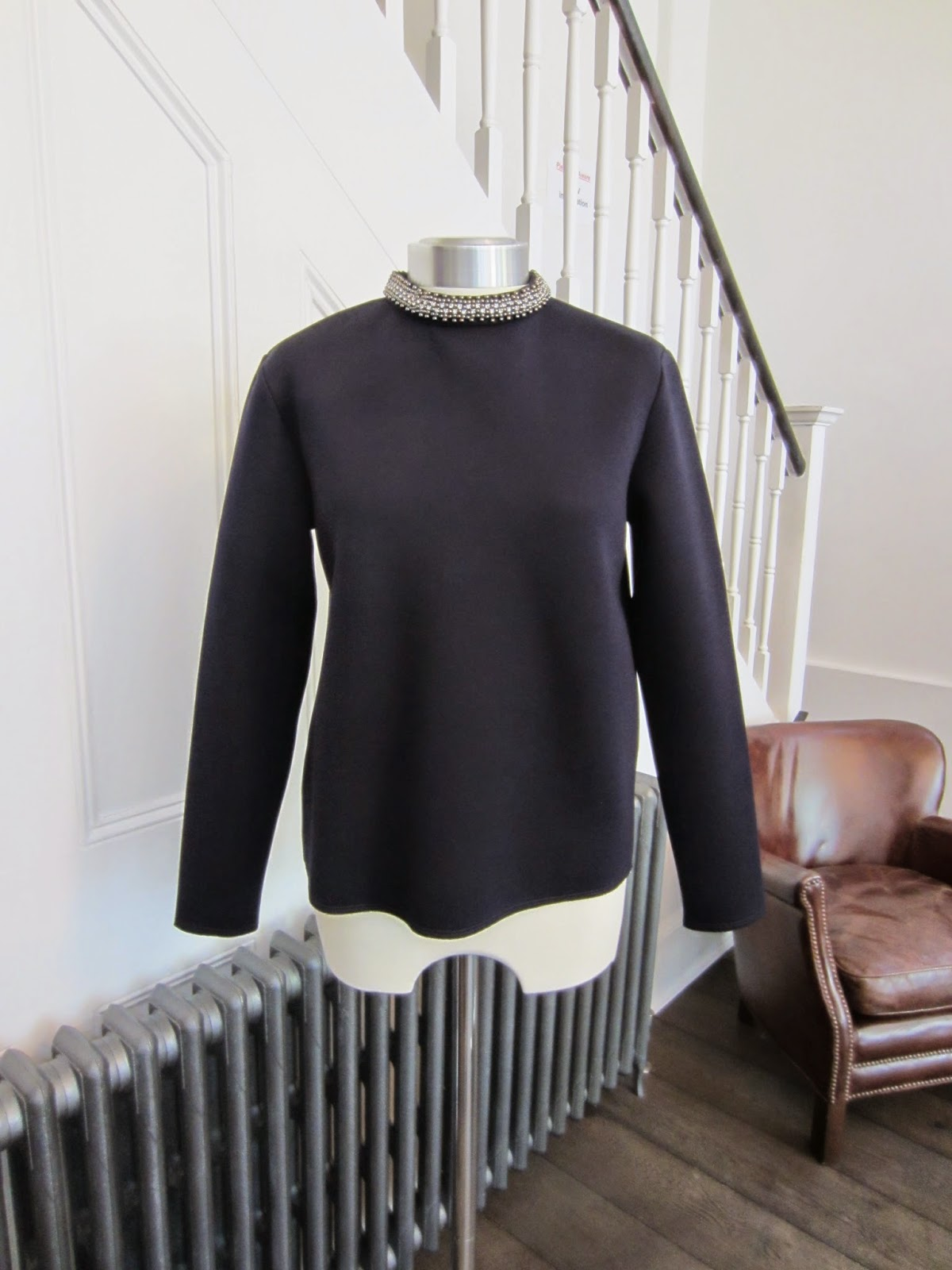 Reiss Navy Blue 1971 Irea Sweatshirt with Embellished Collar