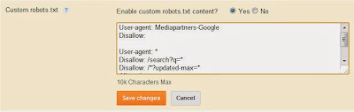 Custom Robot.txt file for blogger