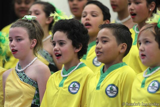Paseanga, a Flaxmere Primary School choir, performing at The Kids Sing Primary and Intermediate Schools Choir Festival, organised by New Zealand Choral Foundation, at Heretaunga Intermediate School, Hastings. photograph