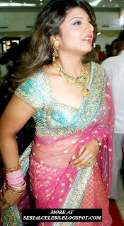 Rambha aunty in Low hip saree