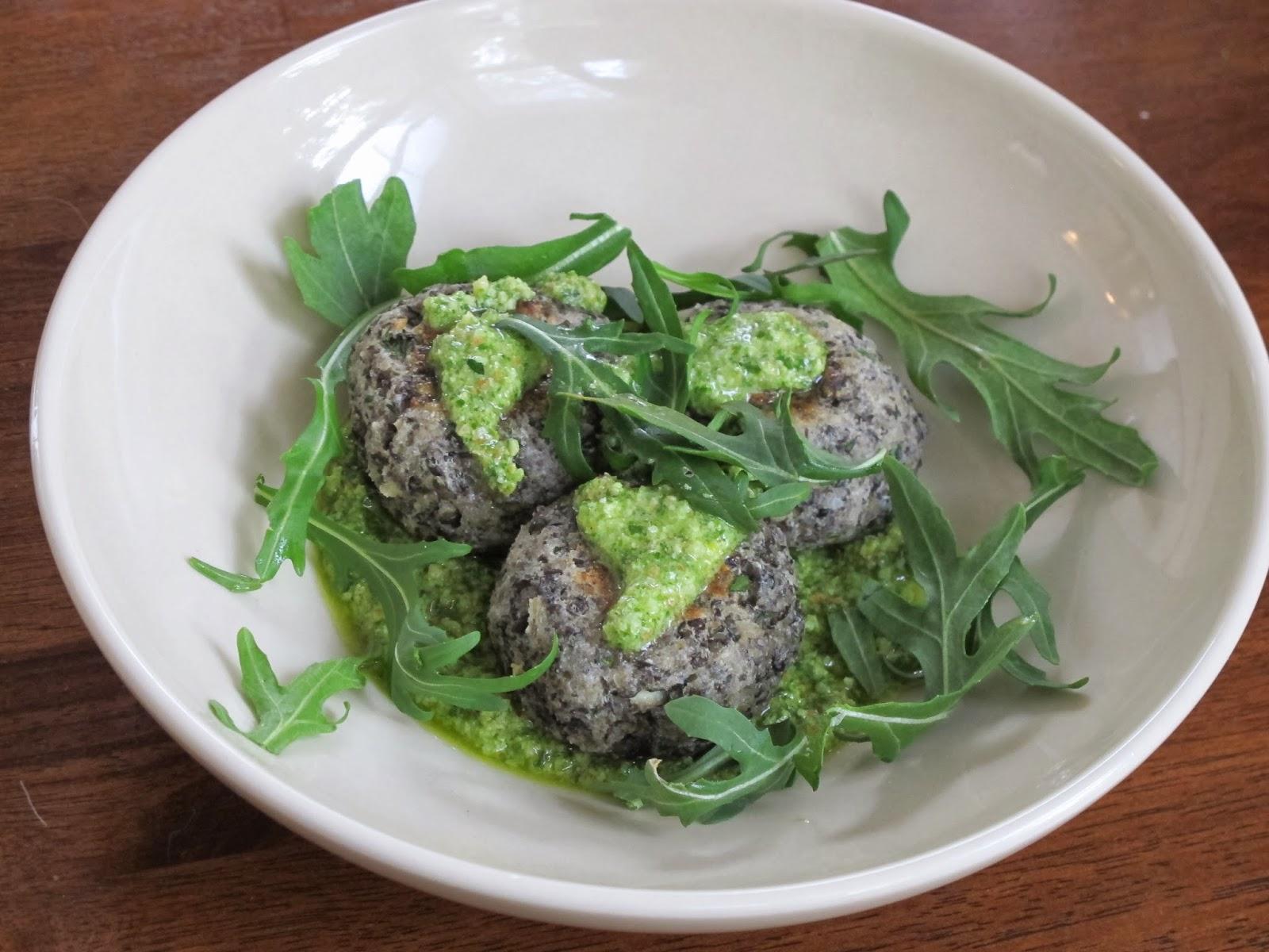 Lentil Meatballs with Basil Almond Lemon Pesto