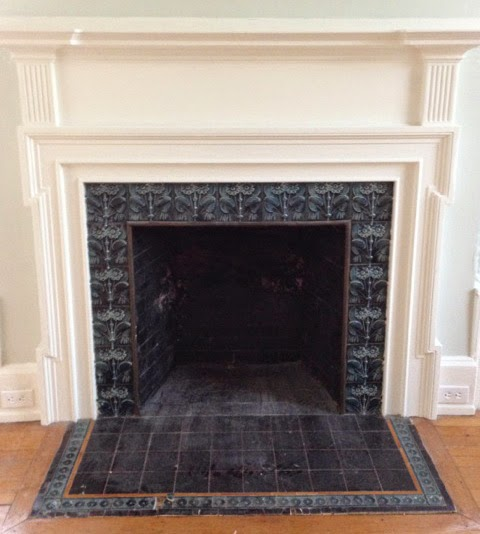 antique fireplace tile. all tiles are original from the jglow art tile company, circa 1904. antique fireplace