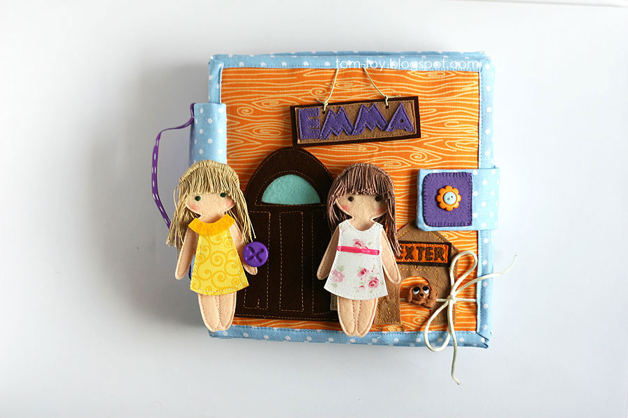 Handmade fabric travel dollhouse, quiet busy book