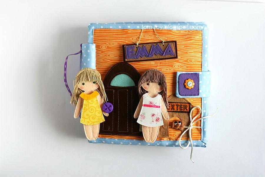 Handmade fabric travel dollhouse, quiet busy book