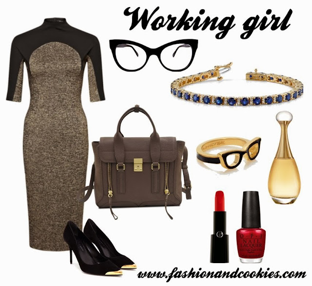 Working girl look, Pashli bag, Kate Spade glasses ring, anjolee diamond and sapphire bracelet, Fashion and Cookies, fashion blogger