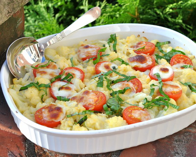 Cheesy Cauliflower Casserole with Caprese Tomatoes, Best Recipes for Everyday 2015 ♥ AVeggieVenture.com.