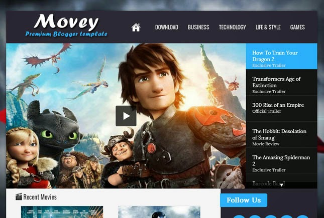 Movey Responsive Blogger Template