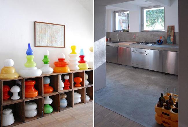 diseño interior casa cajas de madera -cocina de acero inoxidable